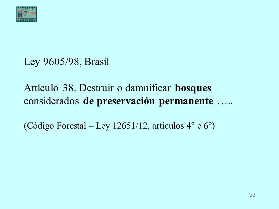 Ley 9605/98, Brasil Artículo 38.