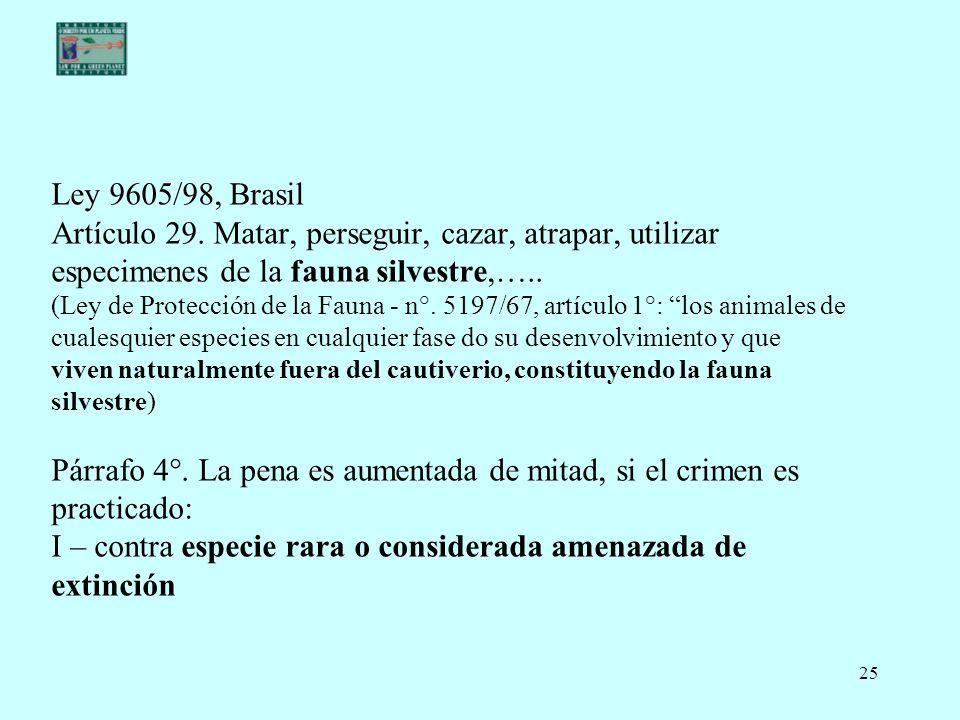 Ley 9605/98, Brasil Artículo 29.