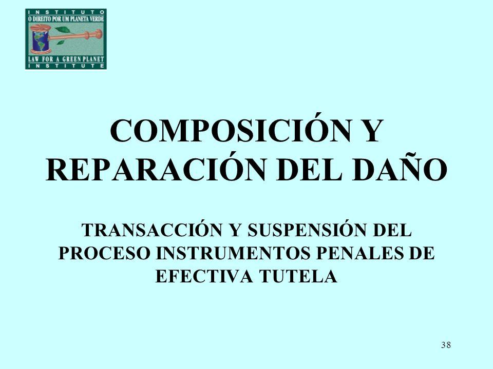 COMPOSICIÓN Y REPARACIÓN DEL DAÑO TRANSACCIÓN Y SUSPENSIÓN DEL PROCESO INSTRUMENTOS PENALES DE EFECTIVA TUTELA
