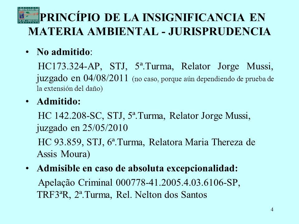 PRINCÍPIO DE LA INSIGNIFICANCIA EN MATERIA AMBIENTAL - JURISPRUDENCIA