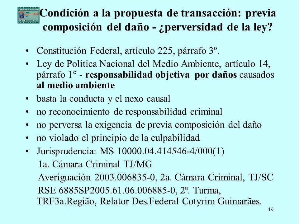 Condición a la propuesta de transacción: previa composición del daño - ¿perversidad de la ley