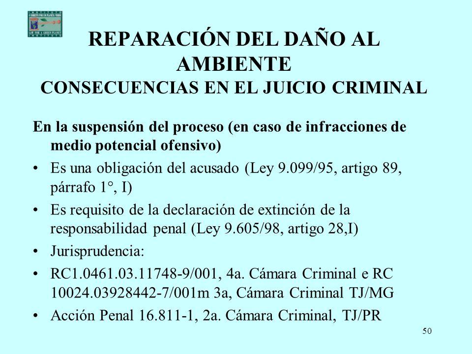 REPARACIÓN DEL DAÑO AL AMBIENTE CONSECUENCIAS EN EL JUICIO CRIMINAL