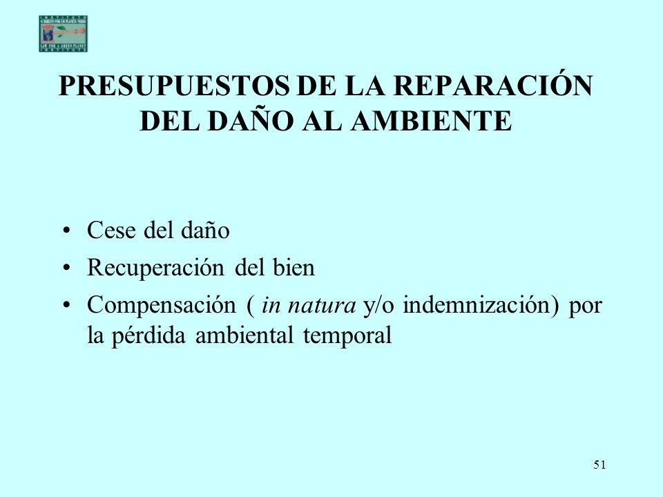 PRESUPUESTOS DE LA REPARACIÓN DEL DAÑO AL AMBIENTE