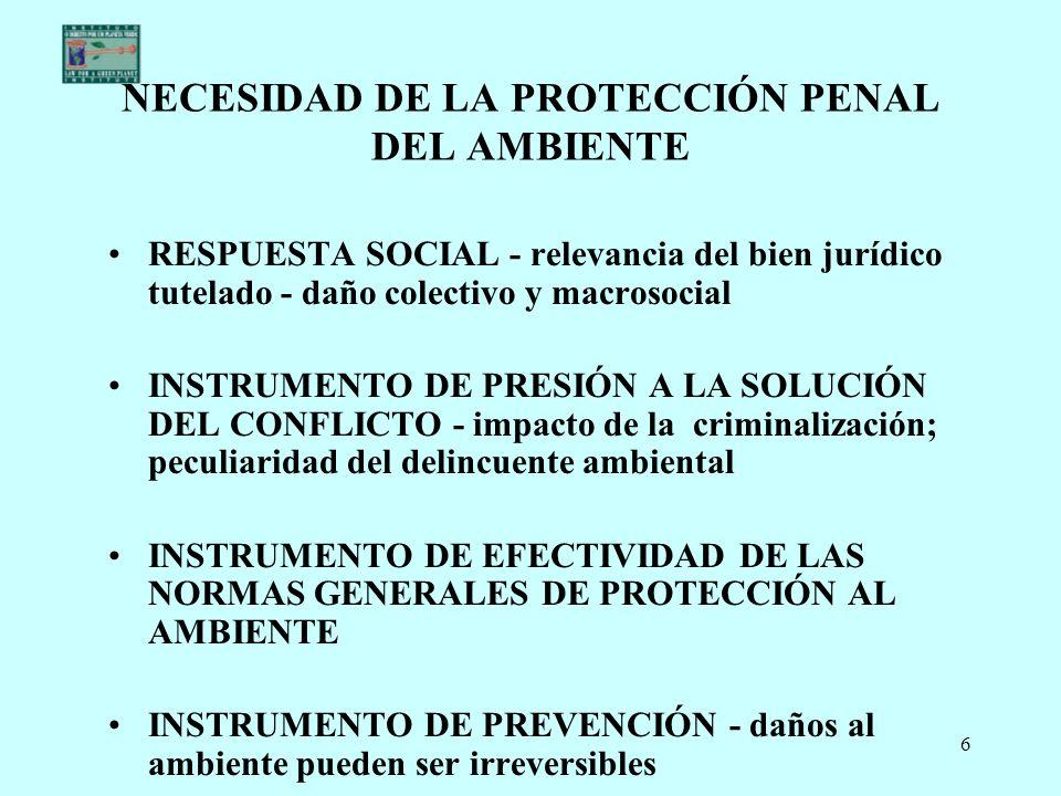 NECESIDAD DE LA PROTECCIÓN PENAL DEL AMBIENTE