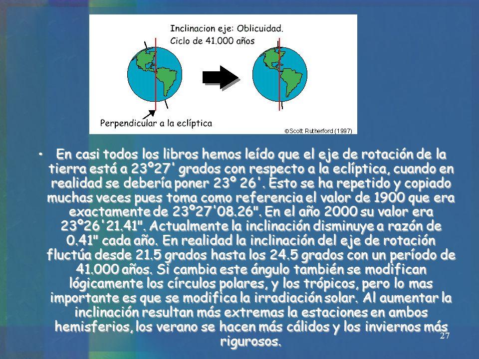 En casi todos los libros hemos leído que el eje de rotación de la tierra está a 23º27 grados con respecto a la eclíptica, cuando en realidad se debería poner 23º 26 .