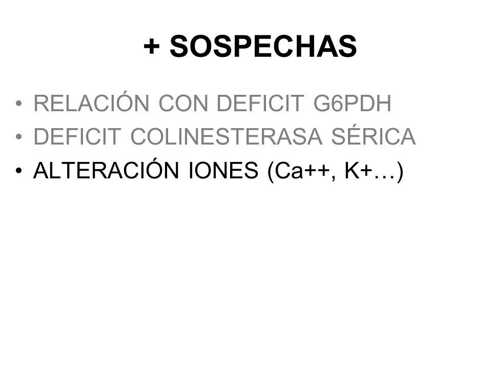 + SOSPECHAS RELACIÓN CON DEFICIT G6PDH DEFICIT COLINESTERASA SÉRICA