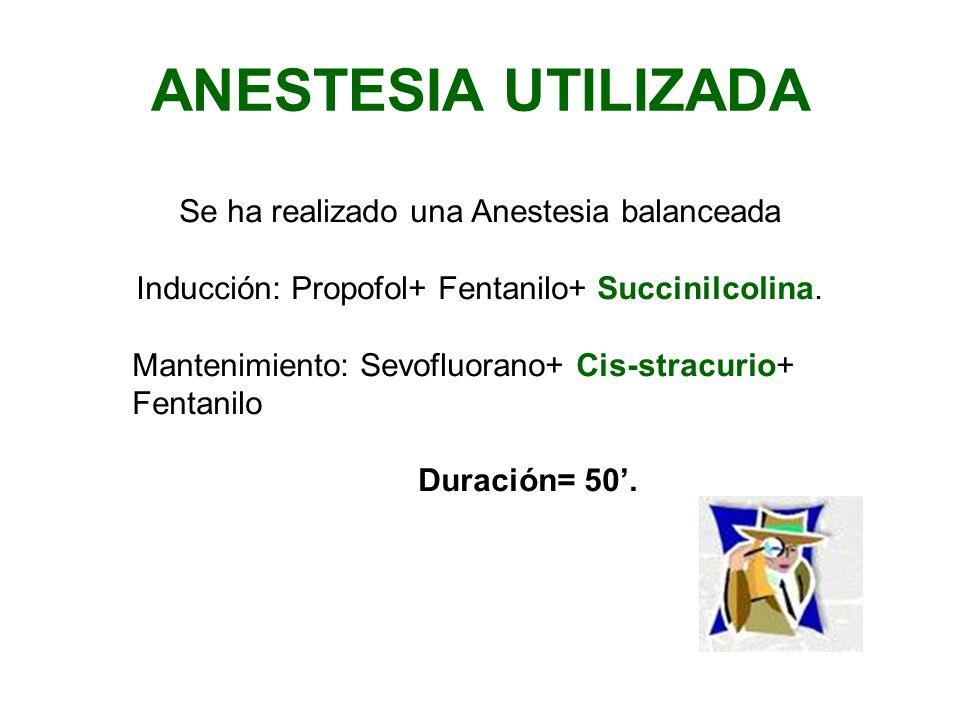 ANESTESIA UTILIZADA Se ha realizado una Anestesia balanceada