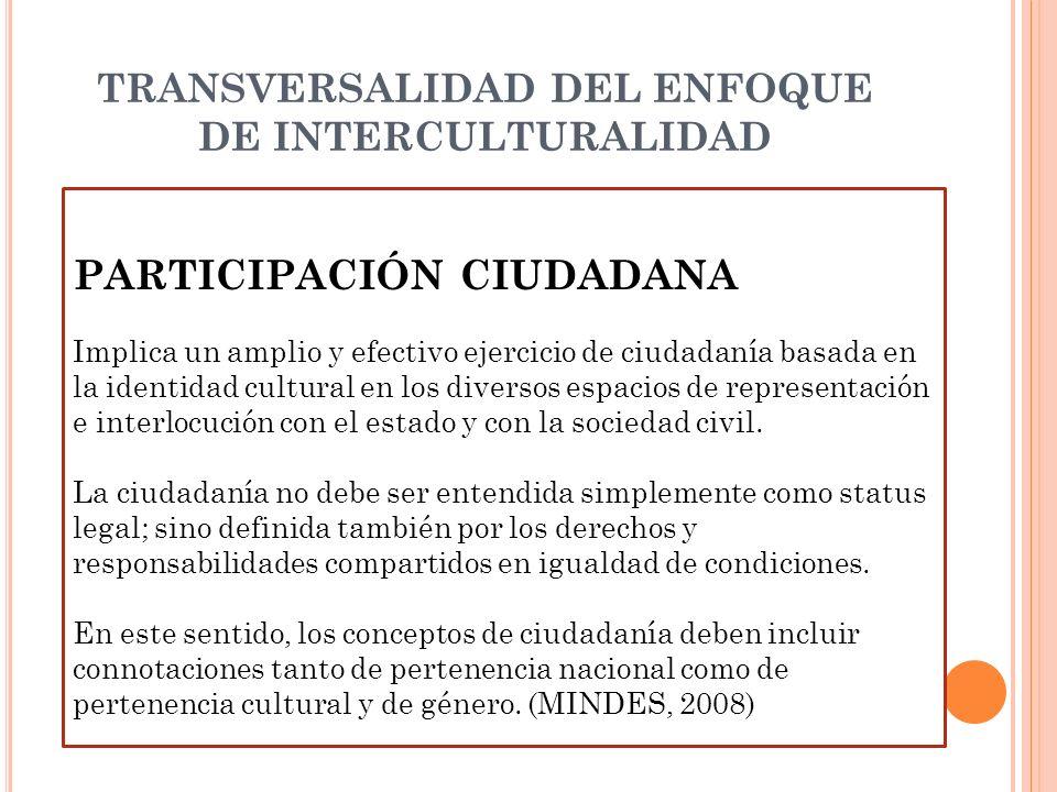 TRANSVERSALIDAD DEL ENFOQUE DE INTERCULTURALIDAD