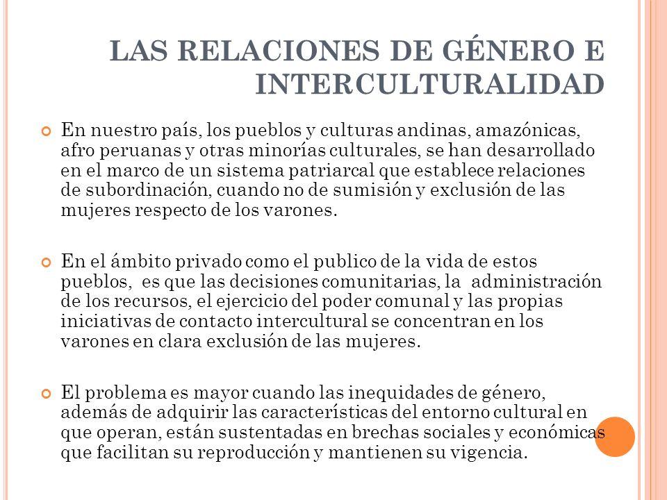 LAS RELACIONES DE GÉNERO E INTERCULTURALIDAD
