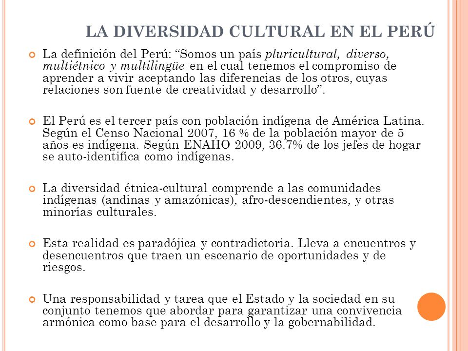 LA DIVERSIDAD CULTURAL EN EL PERÚ
