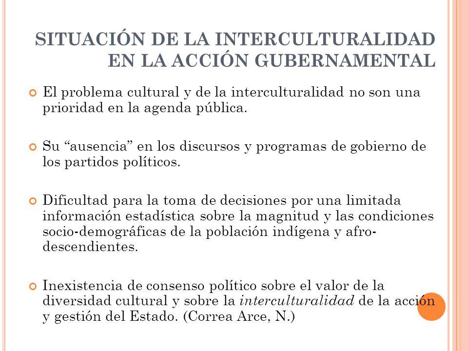 SITUACIÓN DE LA INTERCULTURALIDAD EN LA ACCIÓN GUBERNAMENTAL