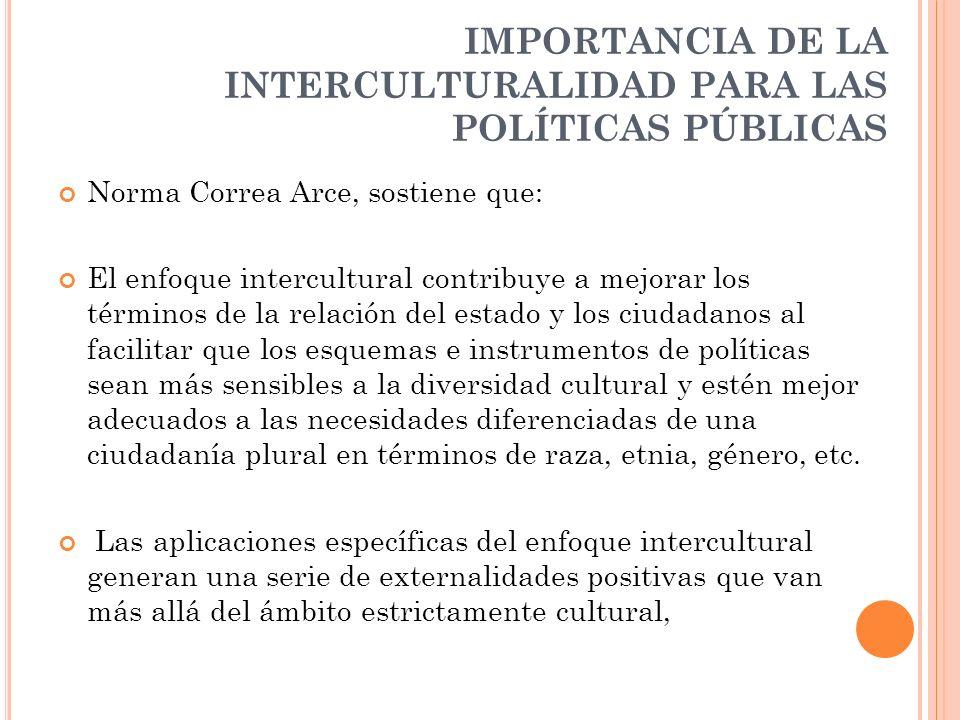 IMPORTANCIA DE LA INTERCULTURALIDAD PARA LAS POLÍTICAS PÚBLICAS
