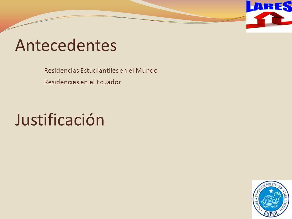 LARES Antecedentes Residencias Estudiantiles en el Mundo Residencias en el Ecuador Justificación