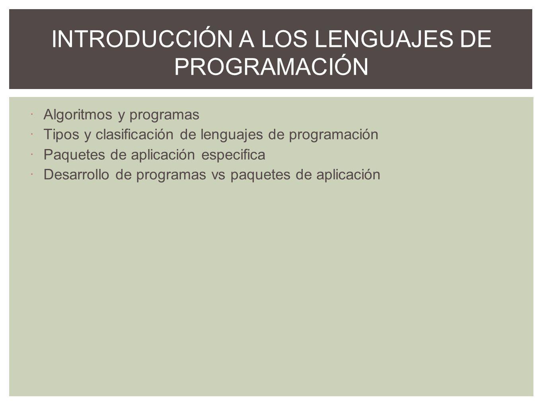 INTRODUCCIÓN A LOS LENGUAJES DE PROGRAMACIÓN