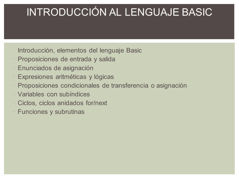 INTRODUCCIÓN AL LENGUAJE BASIC