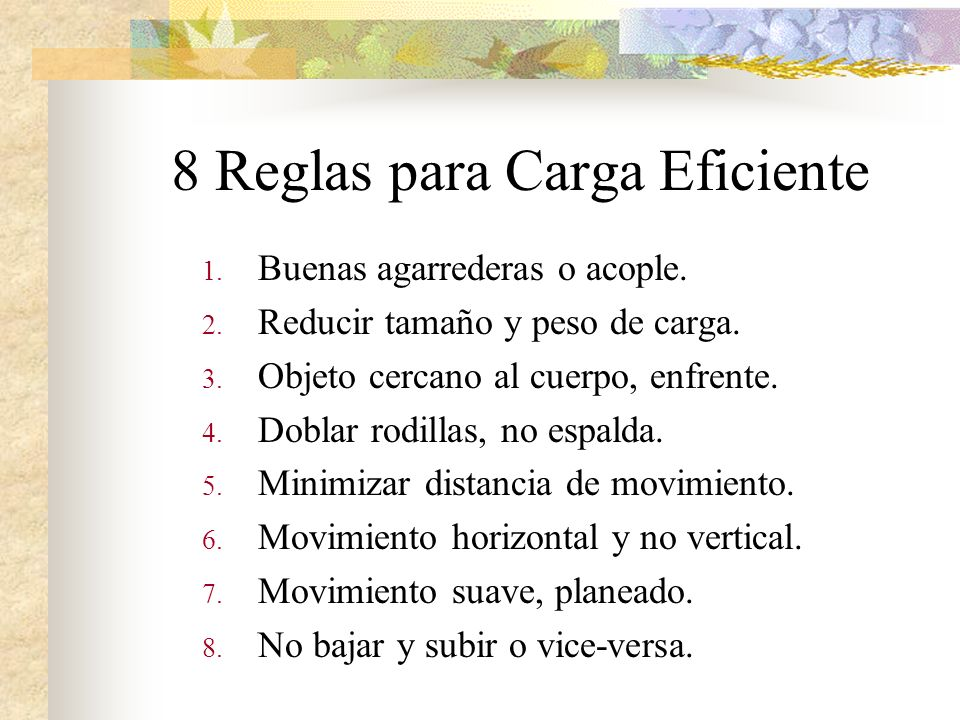 8 Reglas para Carga Eficiente