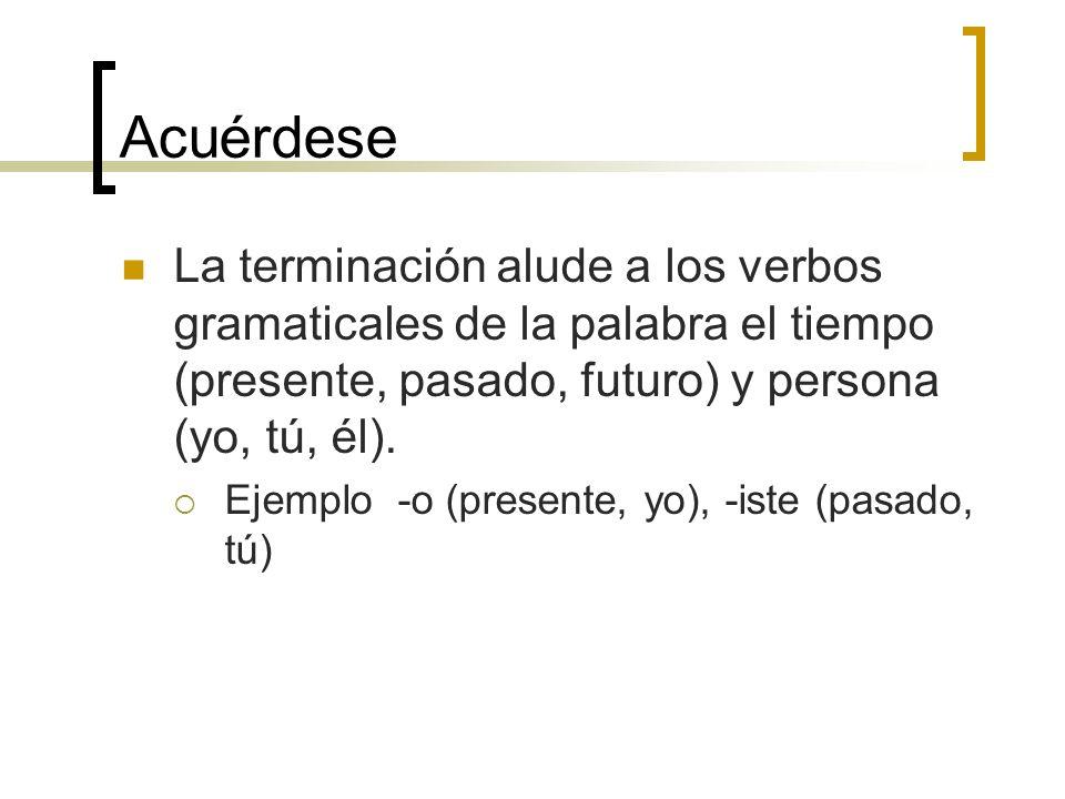 AcuérdeseLa terminación alude a los verbos gramaticales de la palabra el tiempo (presente, pasado, futuro) y persona (yo, tú, él).