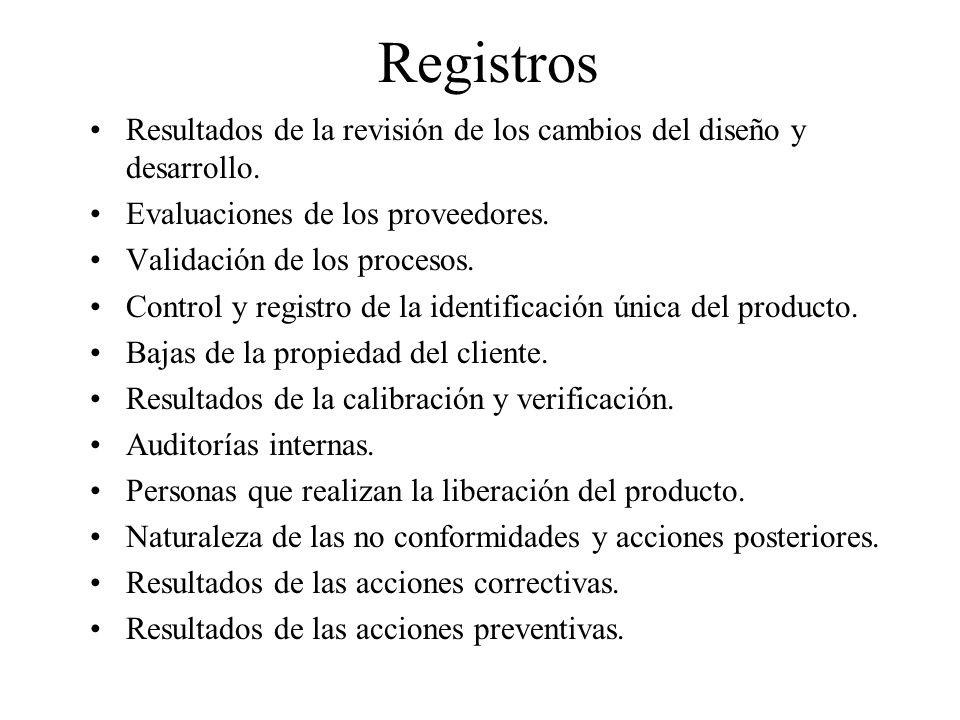 Registros Resultados de la revisión de los cambios del diseño y desarrollo. Evaluaciones de los proveedores.