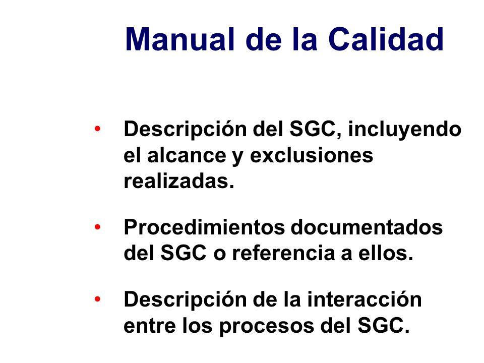 Manual de la Calidad Descripción del SGC, incluyendo el alcance y exclusiones realizadas.