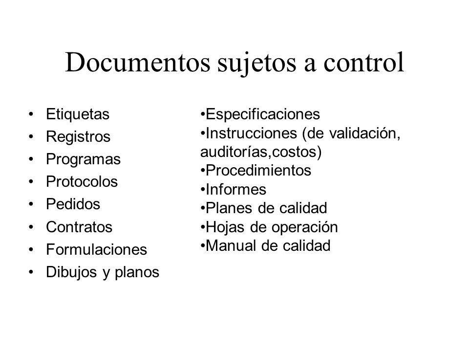 Documentos sujetos a control