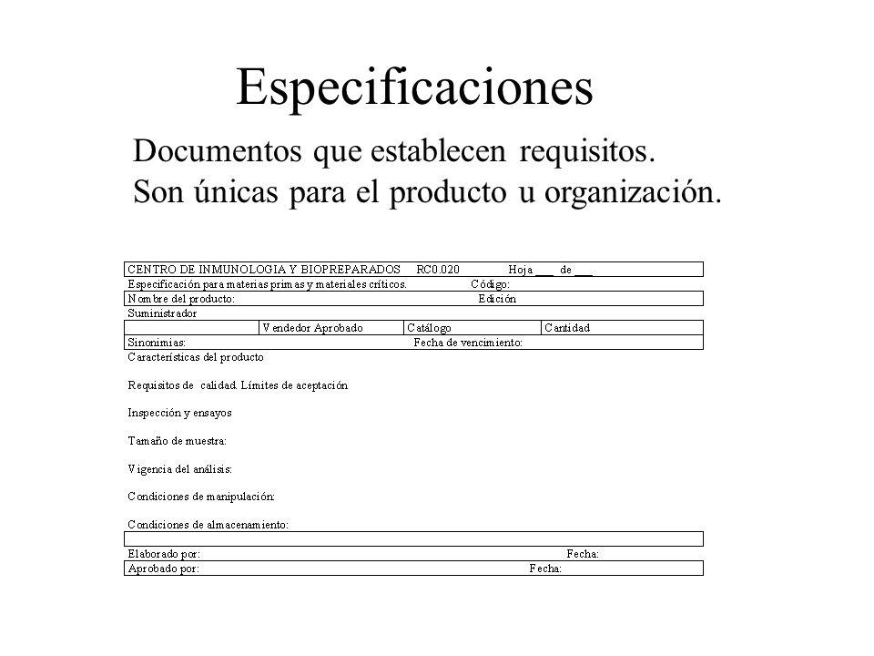 Especificaciones Documentos que establecen requisitos.