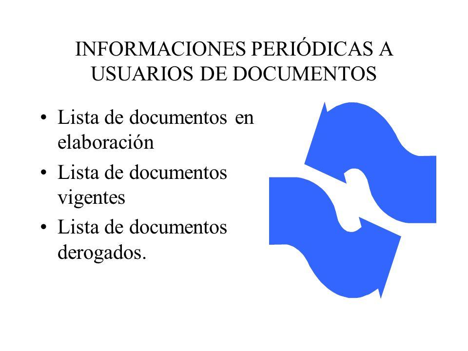 INFORMACIONES PERIÓDICAS A USUARIOS DE DOCUMENTOS
