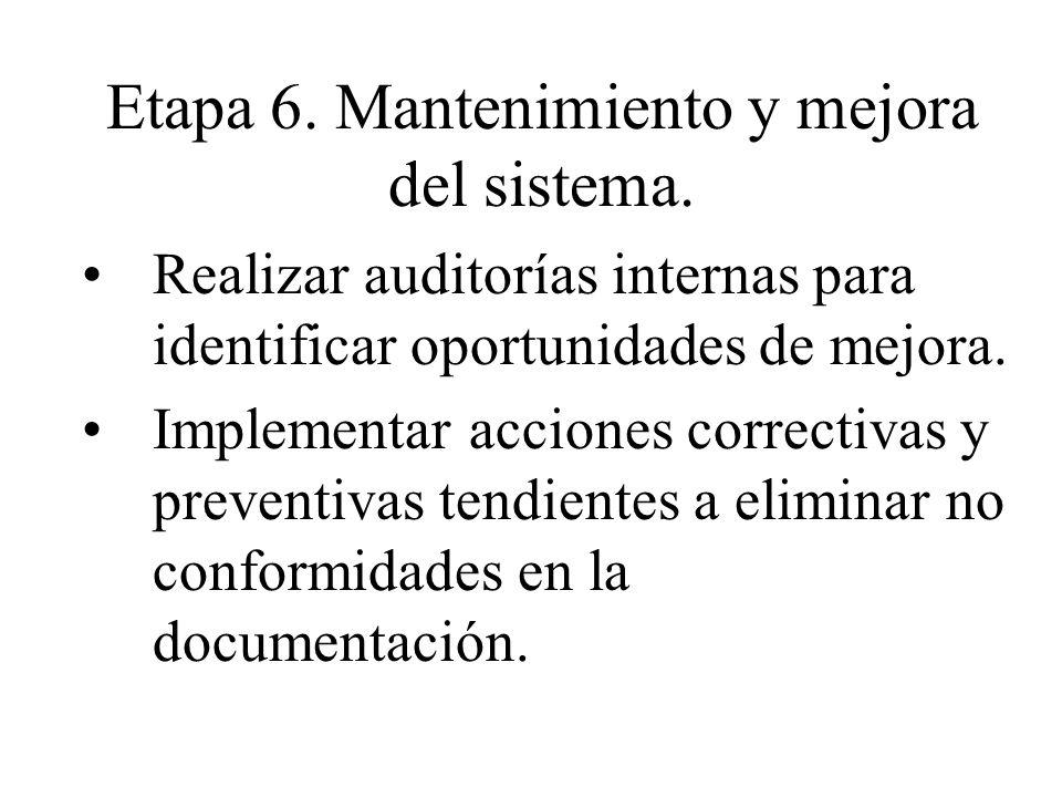 Etapa 6. Mantenimiento y mejora del sistema.
