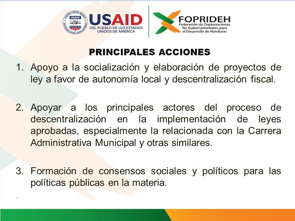 PRINCIPALES ACCIONES Apoyo a la socialización y elaboración de proyectos de ley a favor de autonomía local y descentralización fiscal.