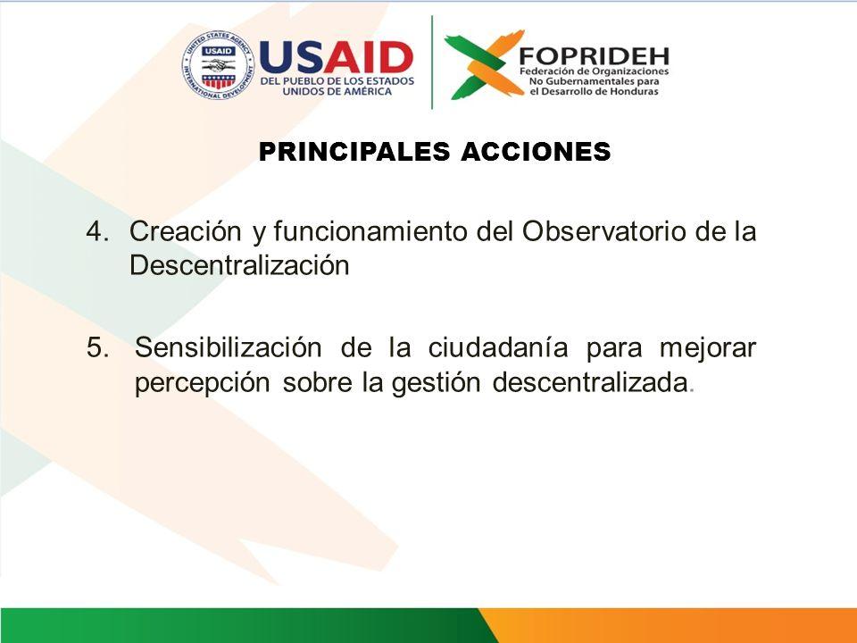 Creación y funcionamiento del Observatorio de la Descentralización