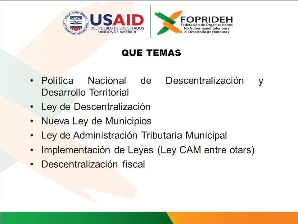 Política Nacional de Descentralización y Desarrollo Territorial