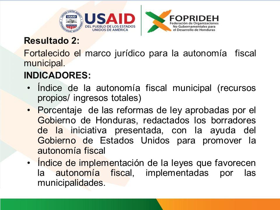 Resultado 2: Fortalecido el marco jurídico para la autonomía fiscal municipal. INDICADORES: