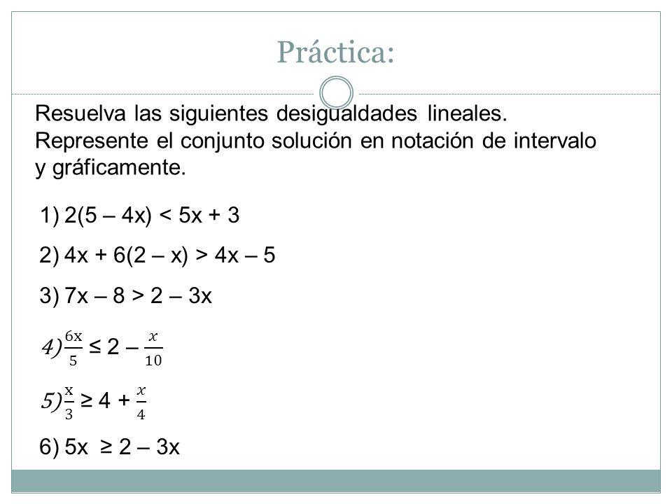 Práctica: Resuelva las siguientes desigualdades lineales. Represente el conjunto solución en notación de intervalo y gráficamente.