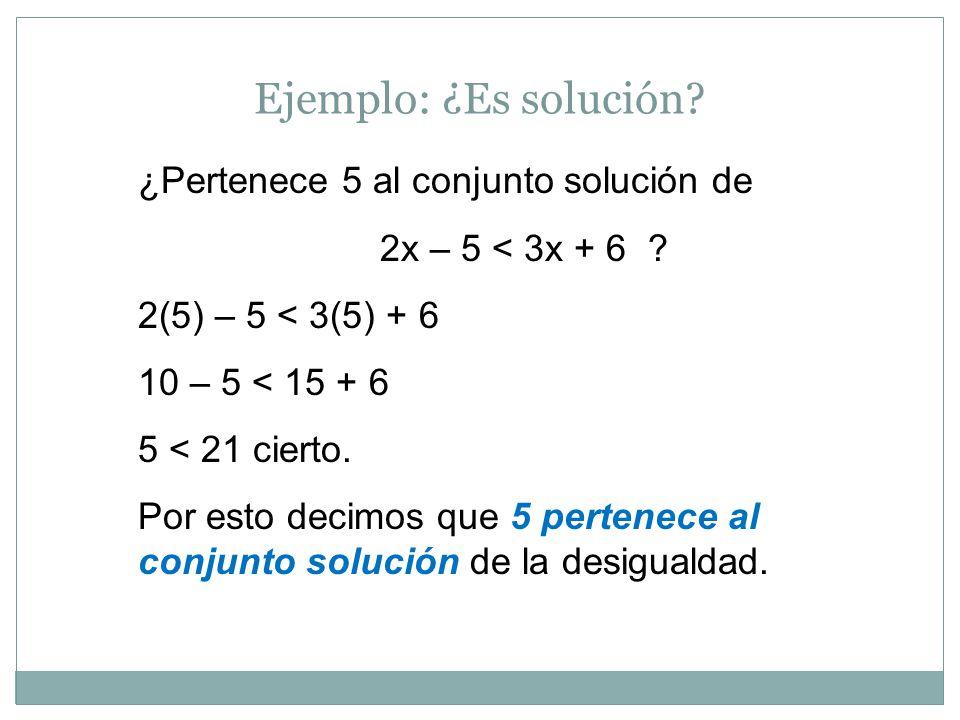 Ejemplo: ¿Es solución ¿Pertenece 5 al conjunto solución de