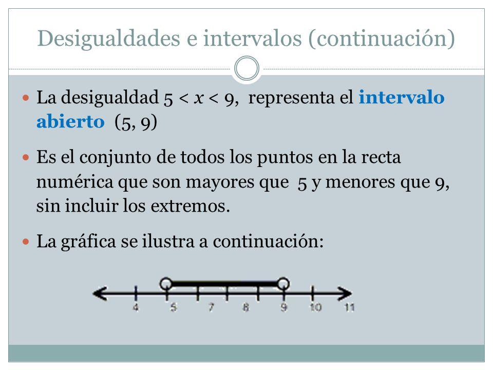 Desigualdades e intervalos (continuación)