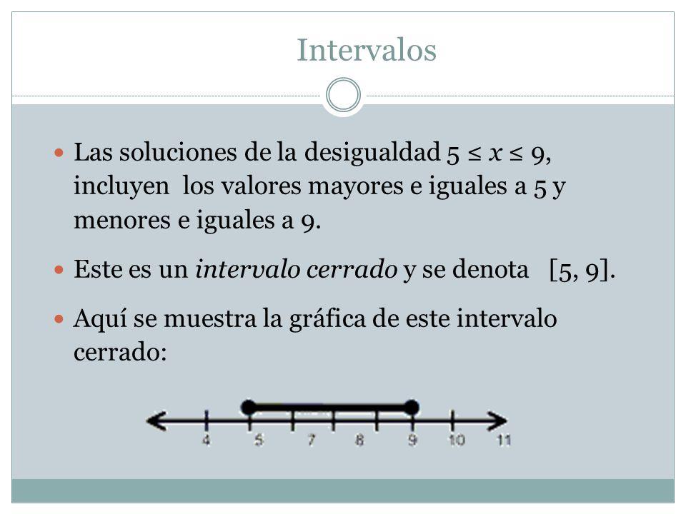 Intervalos Las soluciones de la desigualdad 5 ≤ x ≤ 9, incluyen los valores mayores e iguales a 5 y menores e iguales a 9.