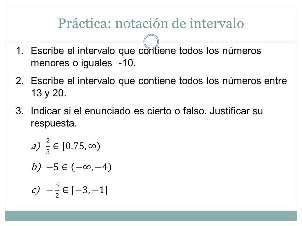 Práctica: notación de intervalo