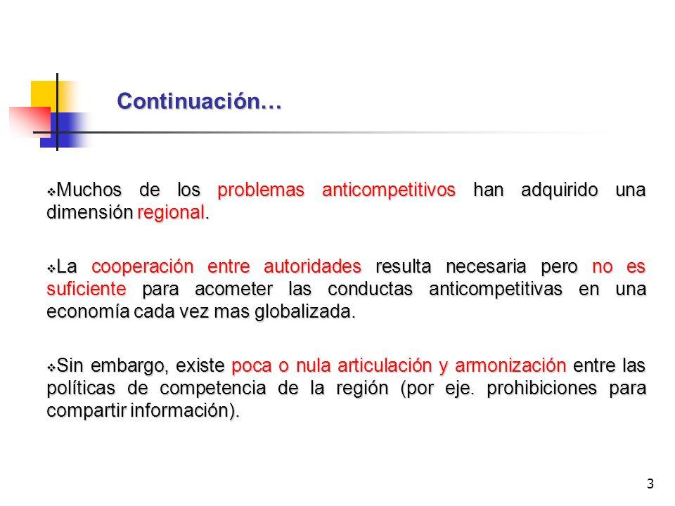 Continuación… Muchos de los problemas anticompetitivos han adquirido una dimensión regional.