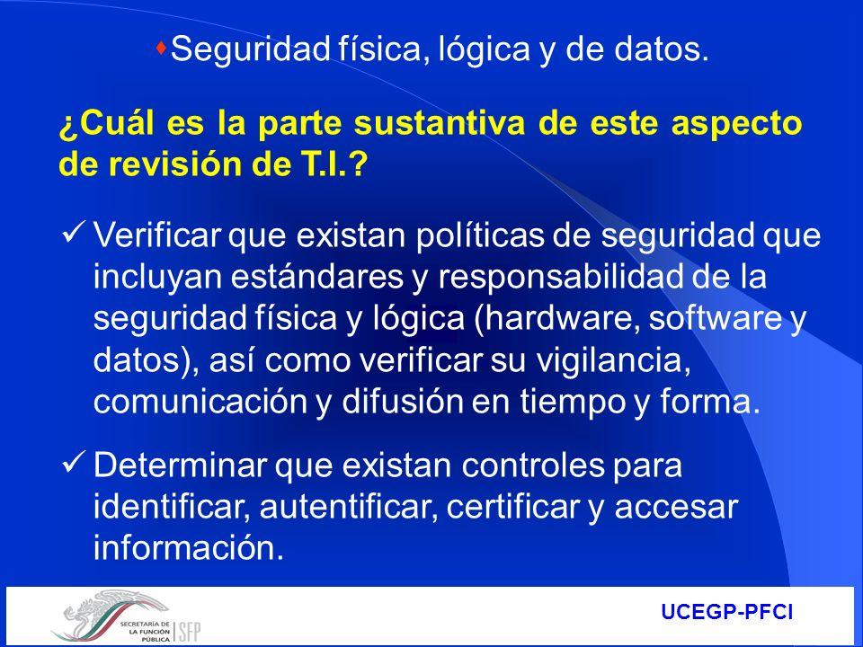 Seguridad física, lógica y de datos.