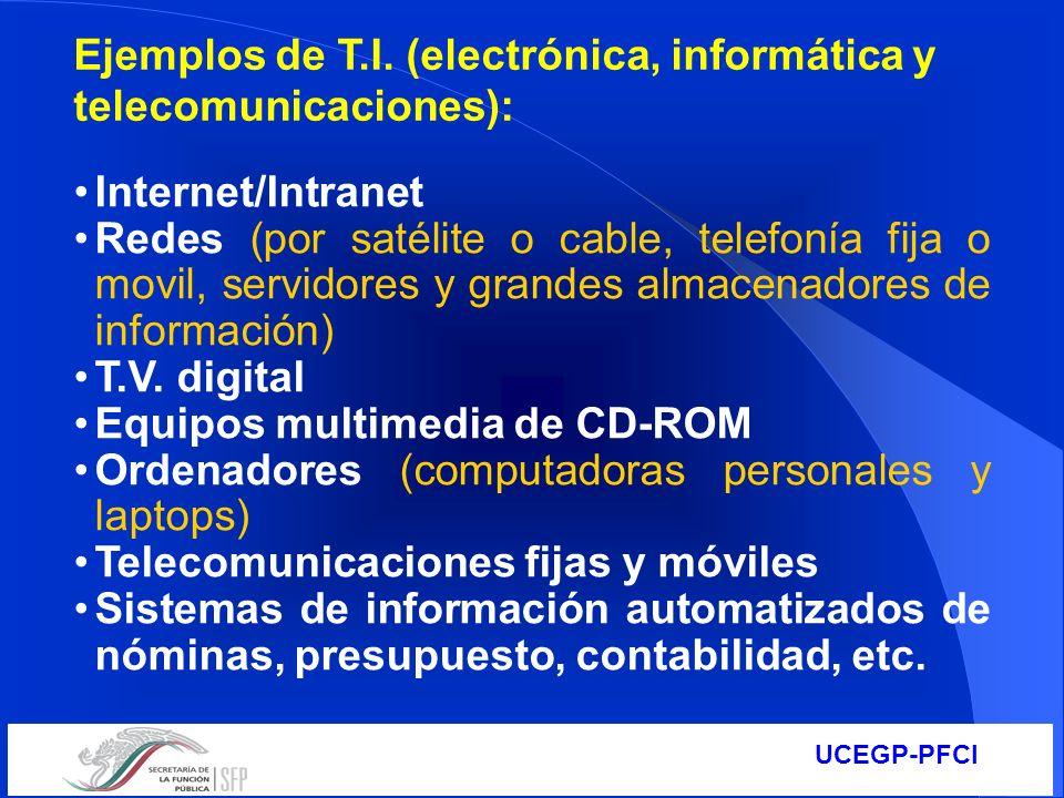Ejemplos de T.I. (electrónica, informática y telecomunicaciones):
