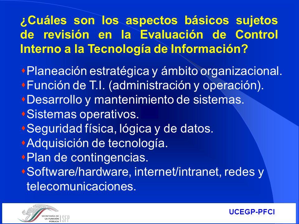 ¿Cuáles son los aspectos básicos sujetos de revisión en la Evaluación de Control Interno a la Tecnología de Información