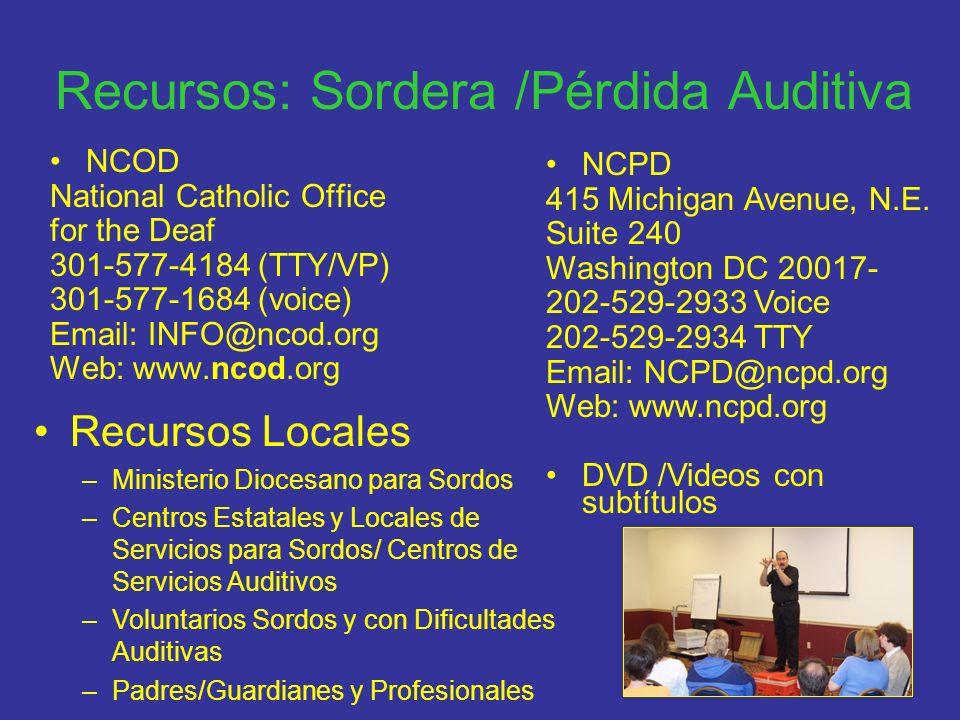 Recursos: Sordera /Pérdida Auditiva