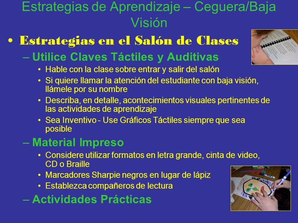 Estrategias de Aprendizaje – Ceguera/Baja Visión