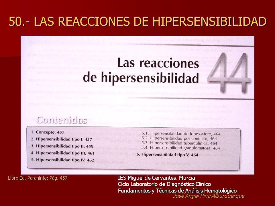 50.- LAS REACCIONES DE HIPERSENSIBILIDAD