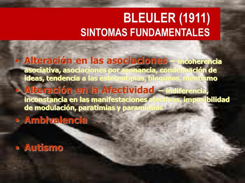 BLEULER (1911) SINTOMAS FUNDAMENTALES