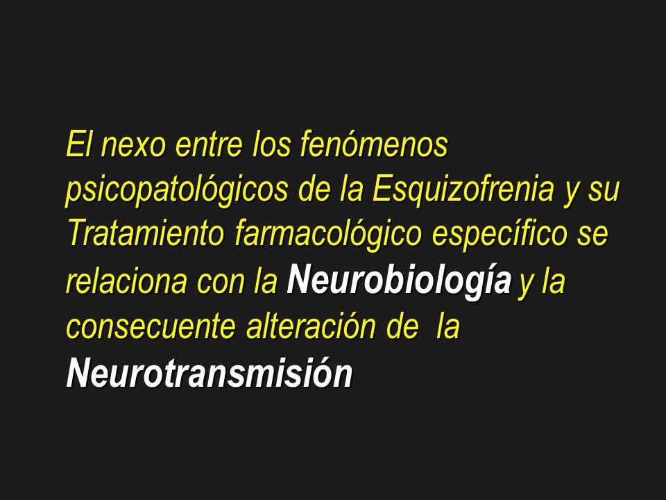 El nexo entre los fenómenos psicopatológicos de la Esquizofrenia y su Tratamiento farmacológico específico se relaciona con la Neurobiología y la consecuente alteración de la Neurotransmisión
