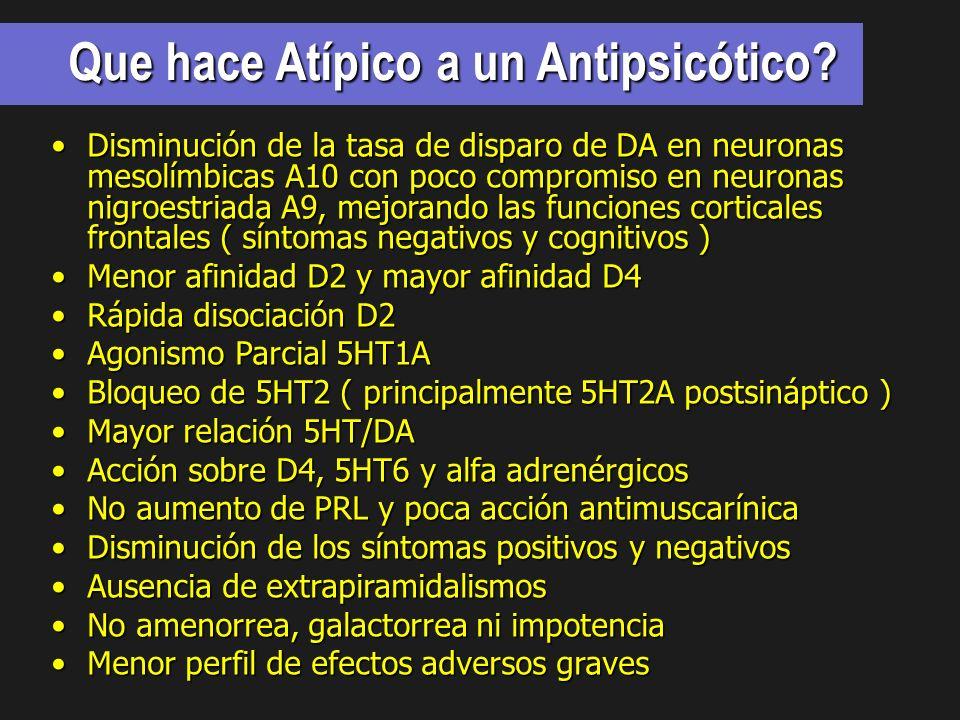Que hace Atípico a un Antipsicótico
