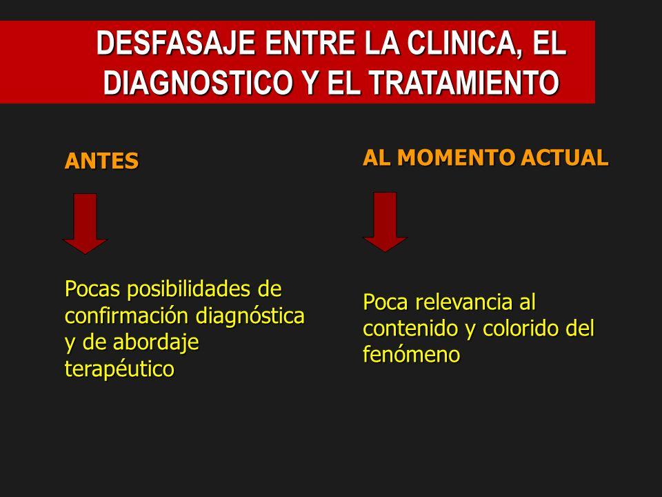 DESFASAJE ENTRE LA CLINICA, EL DIAGNOSTICO Y EL TRATAMIENTO
