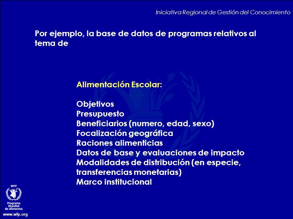 Por ejemplo, la base de datos de programas relativos al tema de