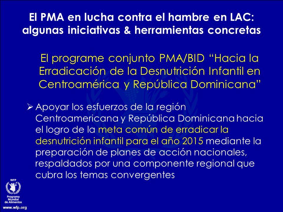 El PMA en lucha contra el hambre en LAC: algunas iniciativas & herramientas concretas