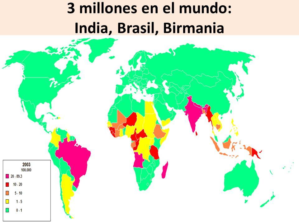 3 millones en el mundo: India, Brasil, Birmania